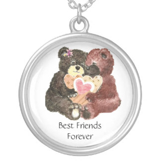 Cute Teddy Bears, Best Friends Forever, BFF, Silver Plated Necklace