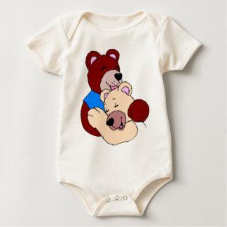 Cute Teddy Bears Hugging Baby Bodysuit
