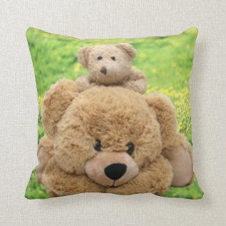 Cute Teddy Bears In A Meadow Cushion