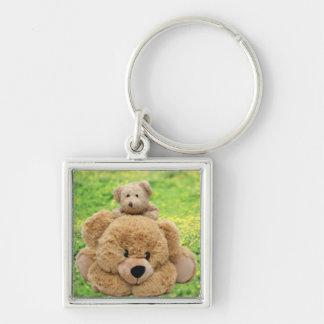 Cute Teddy Bears In A Meadow Keychain