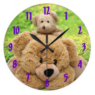 Cute Teddy Bears In A Meadow Large Clock