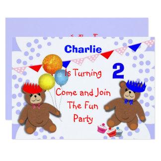 Cute Teddy Bears Picnic Fun Kids Birthday Party Card