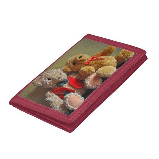 Cute teddy bears tri-fold wallet