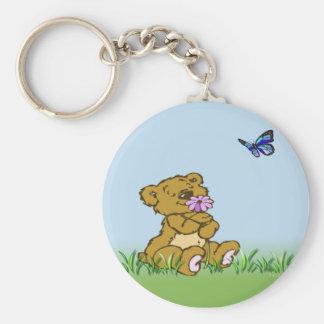 cute teddy basic round button key ring