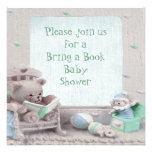 Cute Teddy Reading Bring a Book Baby Shower Invite