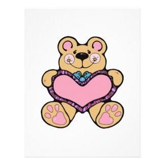 cute teddybear with heart design full color flyer