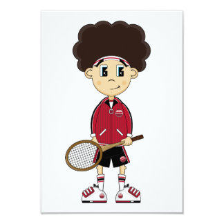 Cute Tennis Boy RSVP Card