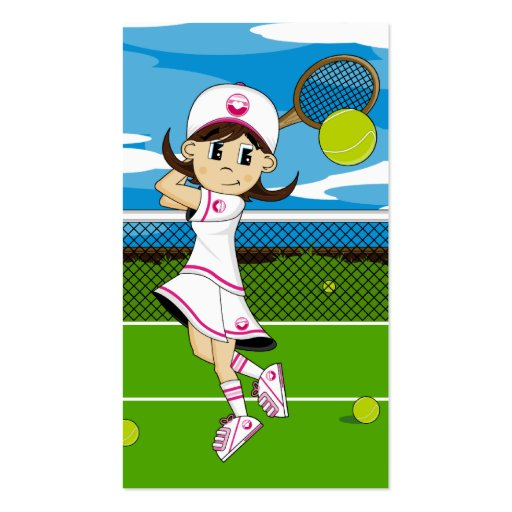 Create your own tennis player business cards page4 cute tennis girl bookmark business card template reheart Image collections