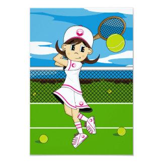 Cute Tennis Girl RSVP Card