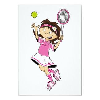 Cute Tennis Girl RSVP Card 9 Cm X 13 Cm Invitation Card