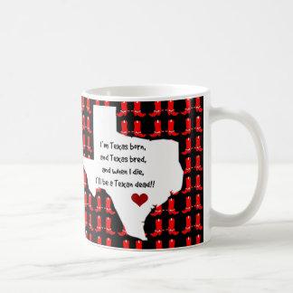 Cute Texas Pride Mug, State Map/Cowboy Boots Basic White Mug