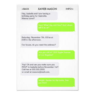 Text message invitations announcements zazzle cute text message party invitation stopboris Images