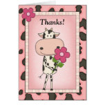 Cute Thank You - Cow & Flower
