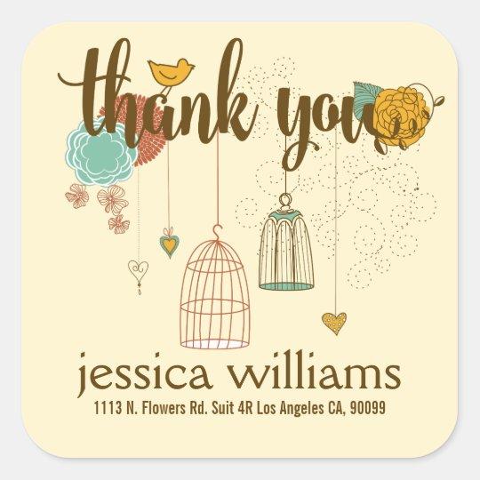 Cute Thank You Design Wedding Birds & Flowers
