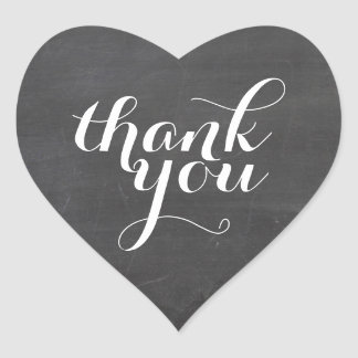 CUTE THANK YOU HEART SEAL modern plain chalkboard Heart Sticker