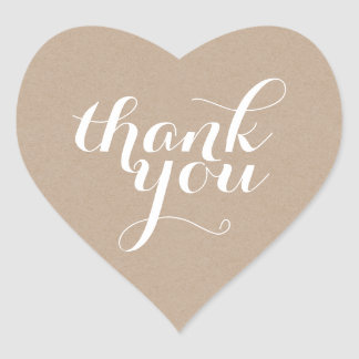 CUTE THANK YOU HEART SEAL modern plain eco kraft Heart Sticker