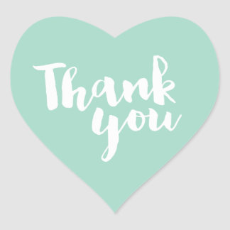 CUTE THANK YOU HEART SEAL modern script mint white Heart Sticker