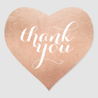 CUTE THANK YOU HEART SEAL modern script rose gold Heart Sticker