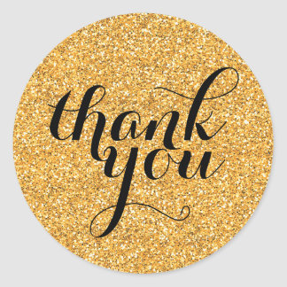 CUTE THANK YOU modern simple glitter gold black Classic Round Sticker