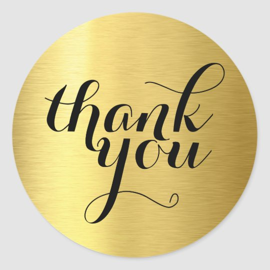 CUTE THANK YOU modern simple shiny gold foil