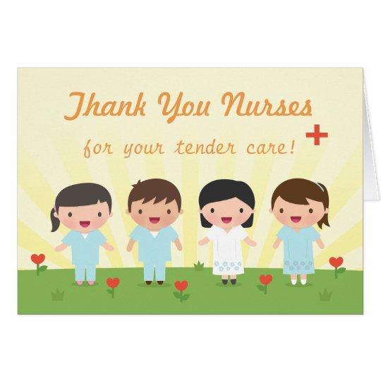 Cute Thank You Nurses Greeting Card