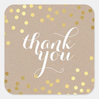 CUTE THANK YOU SEAL modern gold confetti eco kraft Square Sticker