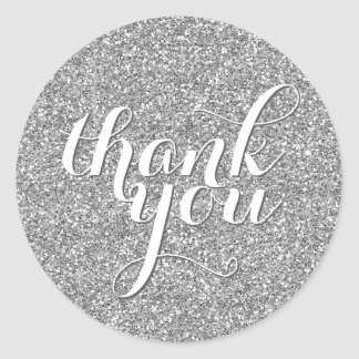 CUTE THANK YOU SEAL modern simple glitter silver Round Sticker
