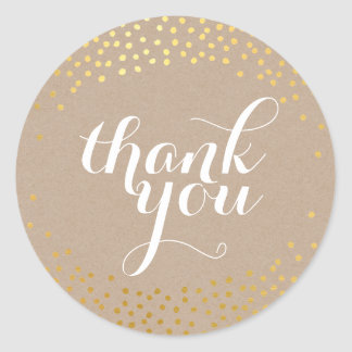 CUTE THANK YOU SEAL rustic gold confetti kraft Round Sticker