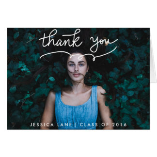 Cute Thank You Typography Graduate Photo Greeting Card