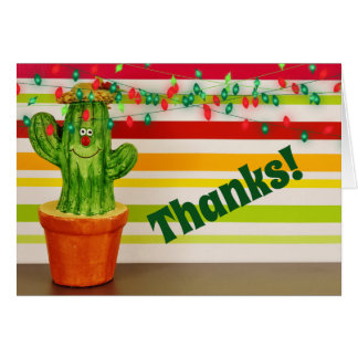 Cute Thanks! Holiday Cactus Southwestern Thank You Card