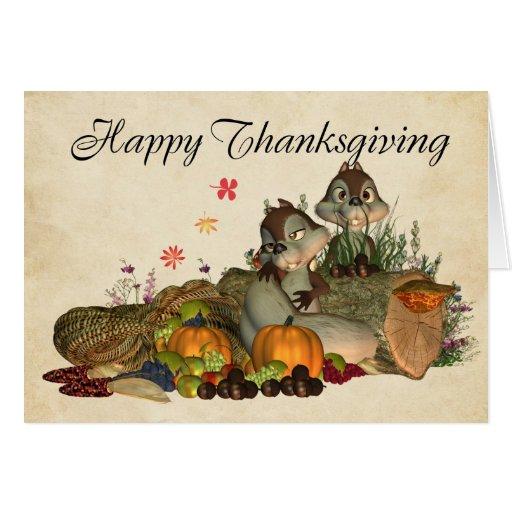 Cute Thanksgiving Card With Cornucopia, Squirrels | Zazzle
