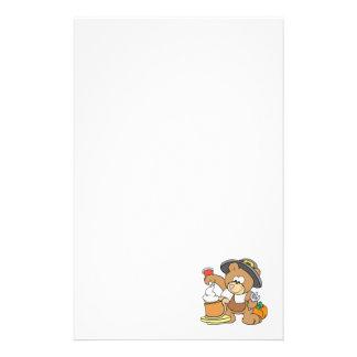 cute thanksgiving pilgrim bear eating pumpkin pie stationery paper
