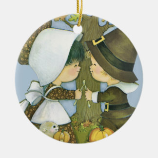 Cute Thanksgiving Pilgrim Wishes Christmas Ornament