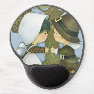 Cute Thanksgiving Pilgrim Wishes Gel Mousepads