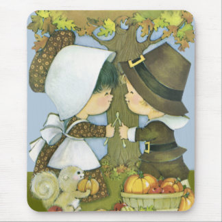 Cute Thanksgiving Pilgrim Wishes Mouse Pad