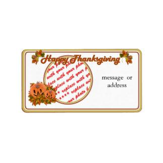 Cute Thanksgiving Pumpkins Photo Frame Address Label