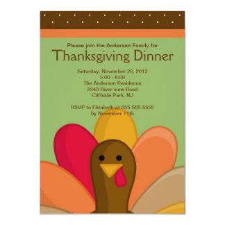 Cute Thanksgiving Turkey Dinner Party Invitation