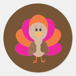 Cute Thanksgiving Turkey Fall Autumn Harvest Round Sticker
