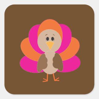 Cute Thanksgiving Turkey Fall Autumn Harvest Square Sticker