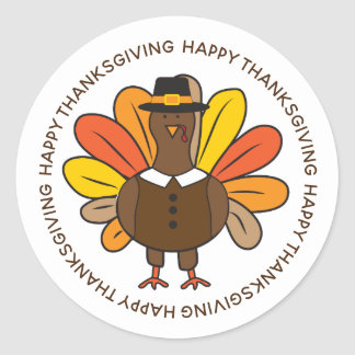 Cute Thanksgiving Turkey Pilgrim Classic Round Sticker