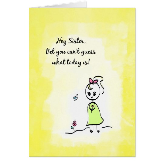 Cute Thinking of You Sister Day With Flower Girl Card