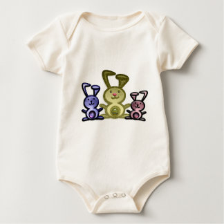 Cute three bunnies digital art baby bodysuit