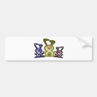 Cute three bunnies digital art bumper sticker