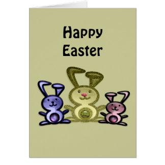 Cute three bunnies digital art greeting card