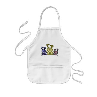 Cute three bunnies digital art kids apron