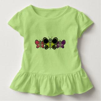 Cute Three Butterflies Toddler Ruffled Shirt