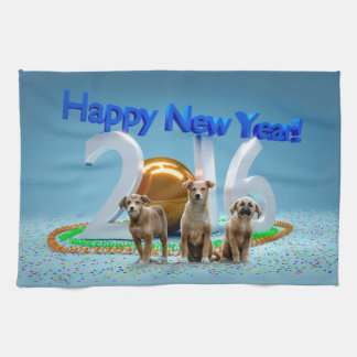 Cute Three Dogs Wishing Happy New Year 2016 Tea Towels