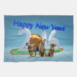 Cute Three Dogs Wishing Happy New Year 2016 Tea Towels