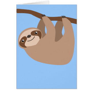 Cute Three-Toed Sloth Card