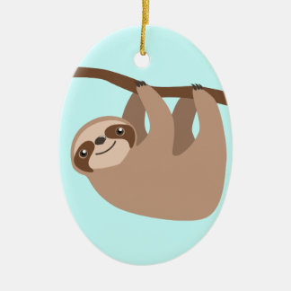 Cute Three-Toed Sloth Christmas Ornament